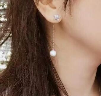 Bijoux de mariée livraison gratuite sellhot chaude vente 925 mode belle blanc cristal étoile à Cinq branches et perle Bijoux boucles d'oreilles - 2