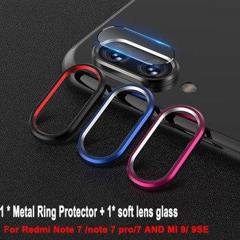 Película de vidrio templado para Red mi Note 7 Pro + anillo de lente de cámara para Xiaomi mi 9 mi 9 SE funda anillo de cubierta de cámara película completa protectora