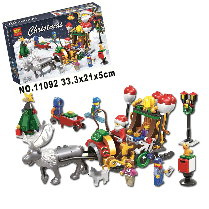 2019 New Year Santa Claus Elk Go Send Christmas Gift Mode 221Pcs Building Blocks Toys Compatible with Legoings