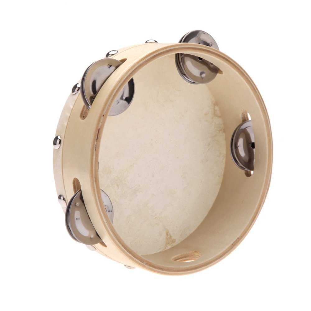 5 PCS of (6in Hand Held Tambourine Drum Bell Metal Jingles Percussion Musical Toy for KTV Party Kids Games)