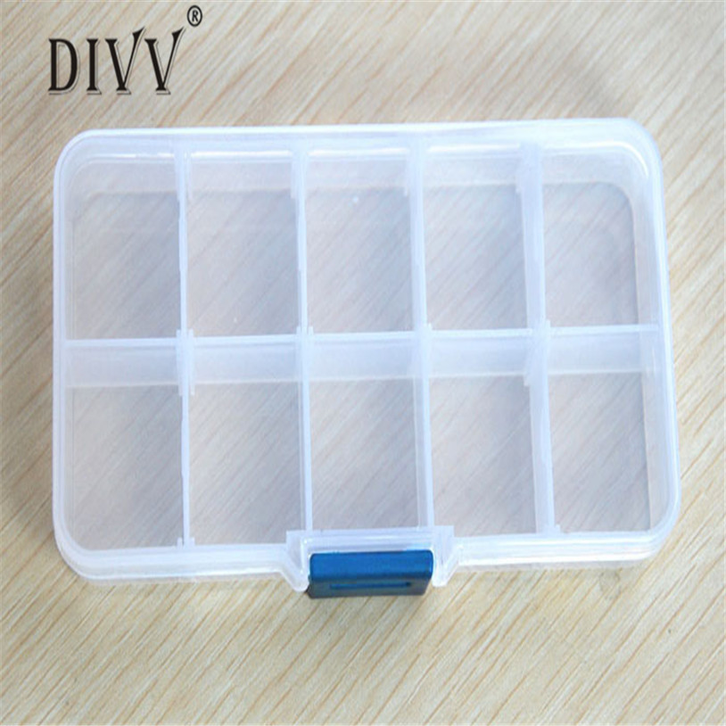 organizer Adjustable Storage Jewelry Box Holder Container Pills Nail Art Tips 10 Grids case u70215  porta joias