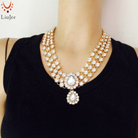 LiuJee New Indian Gold Color Kundan Stone Necklace Women Wedding Bridesmaids Party Prom NK 018