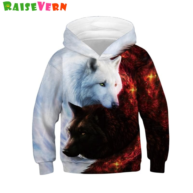 Wolf 3D Print Boys Girls Hoodies Winter Autumn Outerwear Kids Hooded Sweatshirts Childres Long Sleeve Pullover Tops leopard flame 3d print pullover hoodie