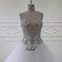 Funkelnde Süße Herz Hochzeit Kleid Eine Linie Perlen perlen Kristalle Tüll Elfenbein Brautkleid Schweres Wulstiges Mieder Brautkleid