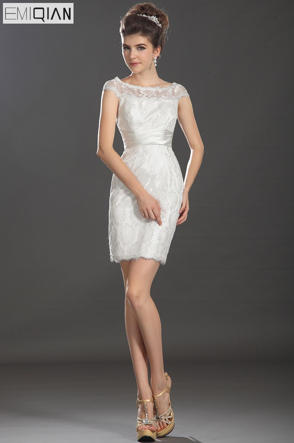 Freeshipping New Cap Sleeves Mini Reception Dress Lace Wedding Dress