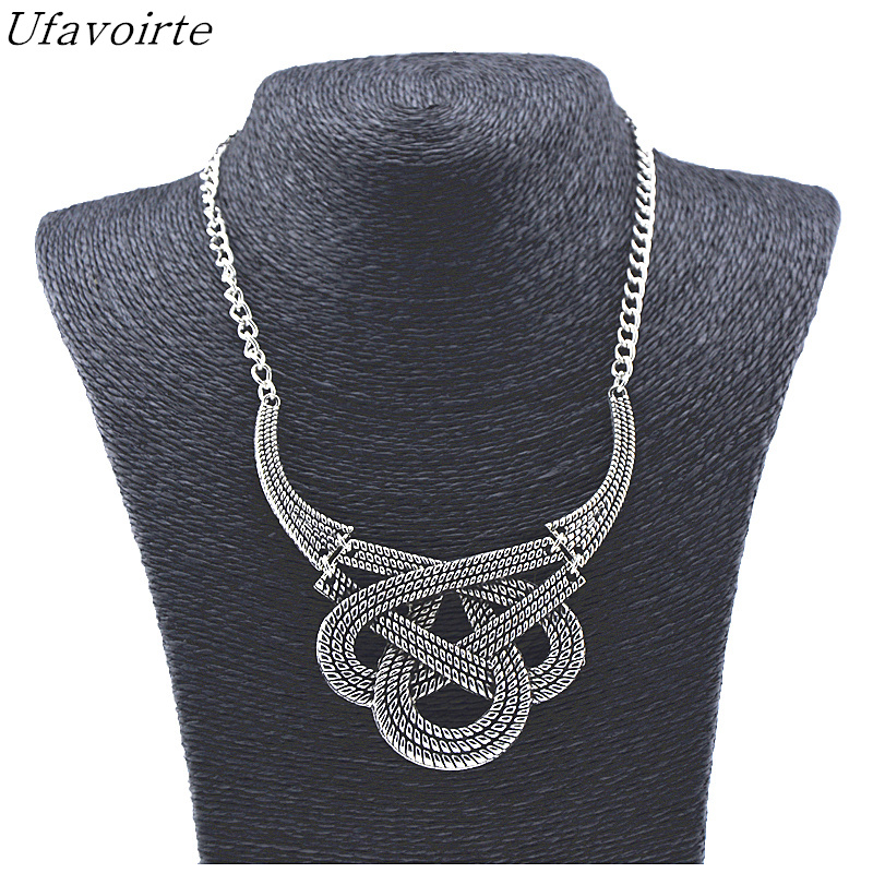 Ufavoirte Fashion Geometric Gold Silver Metal Pendants Necklace Vintage Punk Statement Choker Necklaces Women Jewelry Gift