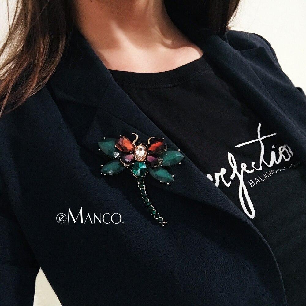 EManco 3 Farben Nette Tier & Insekt Libelle Broschen Pins für Frauen Blau Kristall Brosche Kleidung Zubehör Mode Schmuck