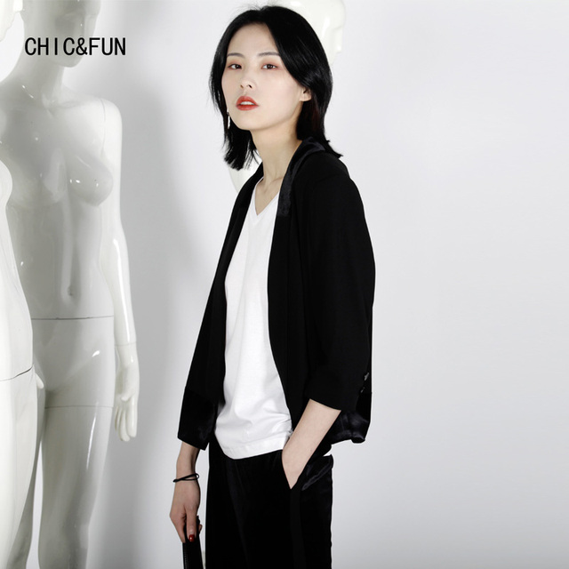 CHIC&FUN High Quality Three Quarter Women Suit Jacket Spring and Autumn Fashion Slim Fit Blazer Jackets