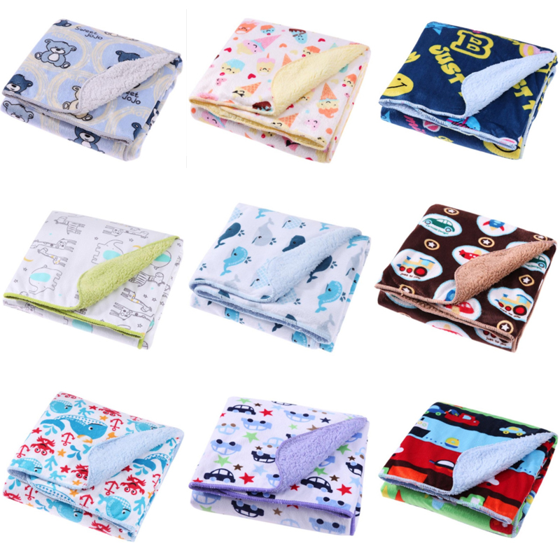 Cartoon Print Warm Baby Blankets Newborn Baby Soft Fleece Blanket Swaddle Thicken Fleece 2 Layer Infant Stroller Towel Wrap zhh warm soft fleece strip blankets double layer thick plush throw on sofa bed plane plaids solid bedspreads home textile 1pc