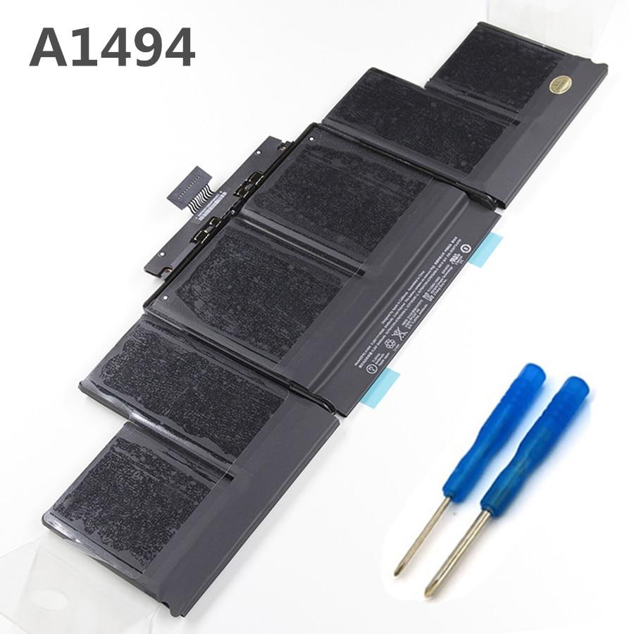 95Wh 8440 mah Batterie Neuve pour Ordinateur Portable A1494 pour Apple Macbook A1398 Fin 2013 2014 Année Version ME293 ME294 Avec outil