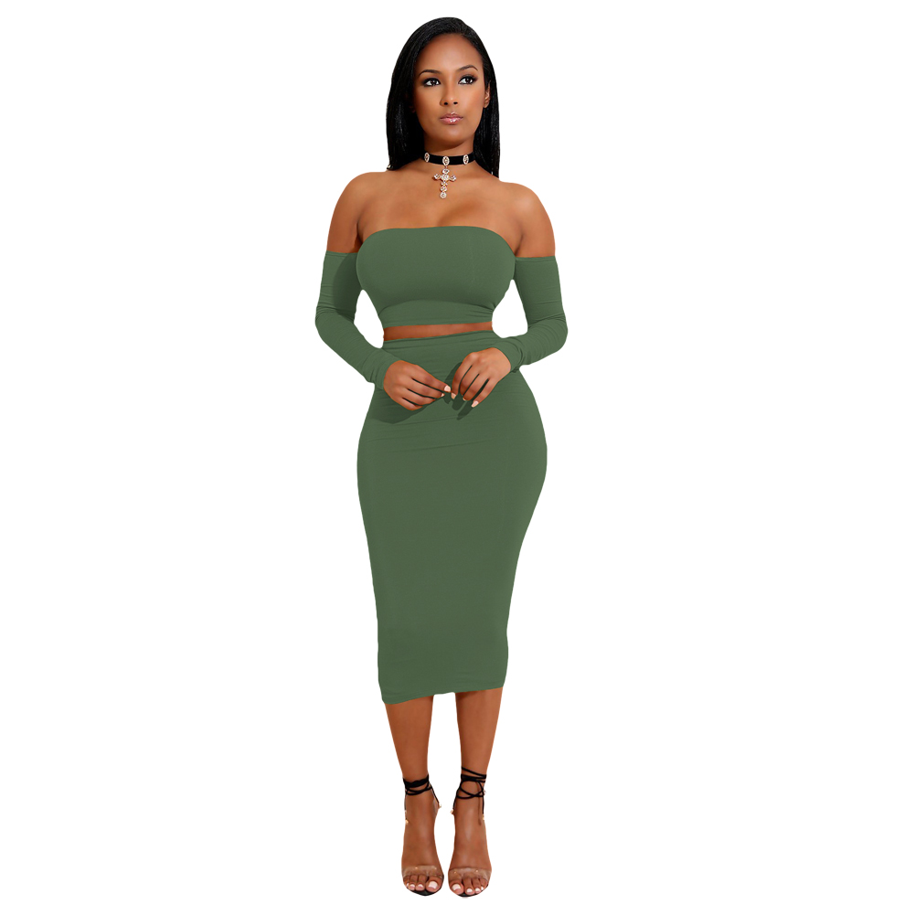 Sexy Women Two Pieces Set Off Shoulder Lace Up Back Long ... - photo #25