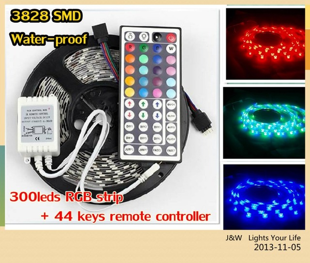 Holiday sale Free Shipping 5M/Roll 3528 SMD waterproof 60 LEDs/M Warm white / White/ RGB LED Strip,  ONLY RGB with 44 keys