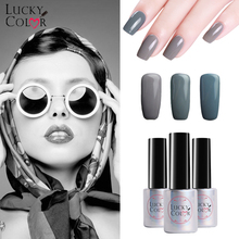 Lucky Color Gray Gel Nail Polish High Quality Long-lasting Soak Off UV LED 10ML/Bottle 12 Colors Pure Nail Art Tool