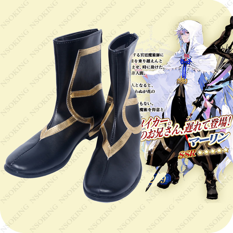 FGO Fate Grand Order Caster Shoes Anime Merlin Cosplay Boots
