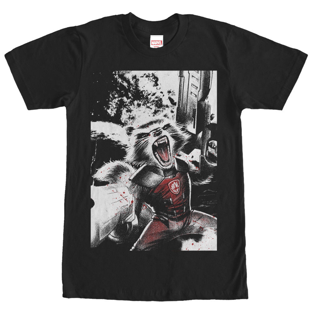 MARVEL GUARDIANS OF THE GALAXY ROCKET EXPLOSION MENS T SHIRT S TO 3XL Free Shipping Men T Shirt