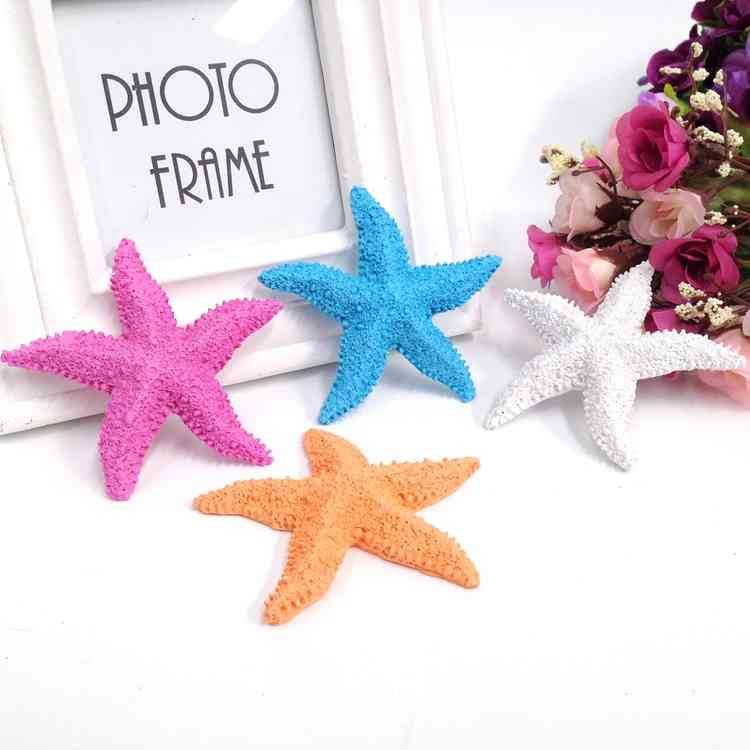 AIBEI-8CM Resin Mnini Five Fingers Starfish 5PCS/SET Mediterranean Style 3D Wall Stickers Nautical Home Decoration Gifts Crafts