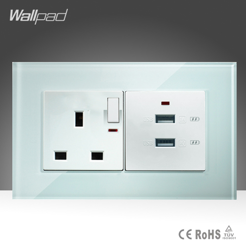Double 3.0 USB and 13A UK Switched LED Socket Wallpad 146*86mm BS CE White Crystal Glass UK Socket 2 USB Quicker Charger Socket uk socket wallpad crystal glass panel 110v 250v switched 13a uk british standard electrical wall socket power outlet uk with led