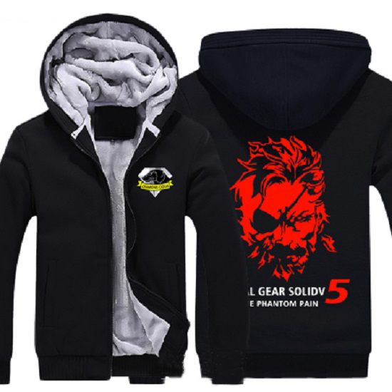 Mens Casual Game MGS 5 Metal Gear Solid V The Phantom Pain Snake Zip Up Winter Fleece Super Warm Hoodie