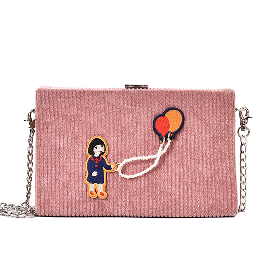 Cartoon Girl Applique Corduroy Box Style Shoulder Bag Girl\'S Daily Clutch Bag