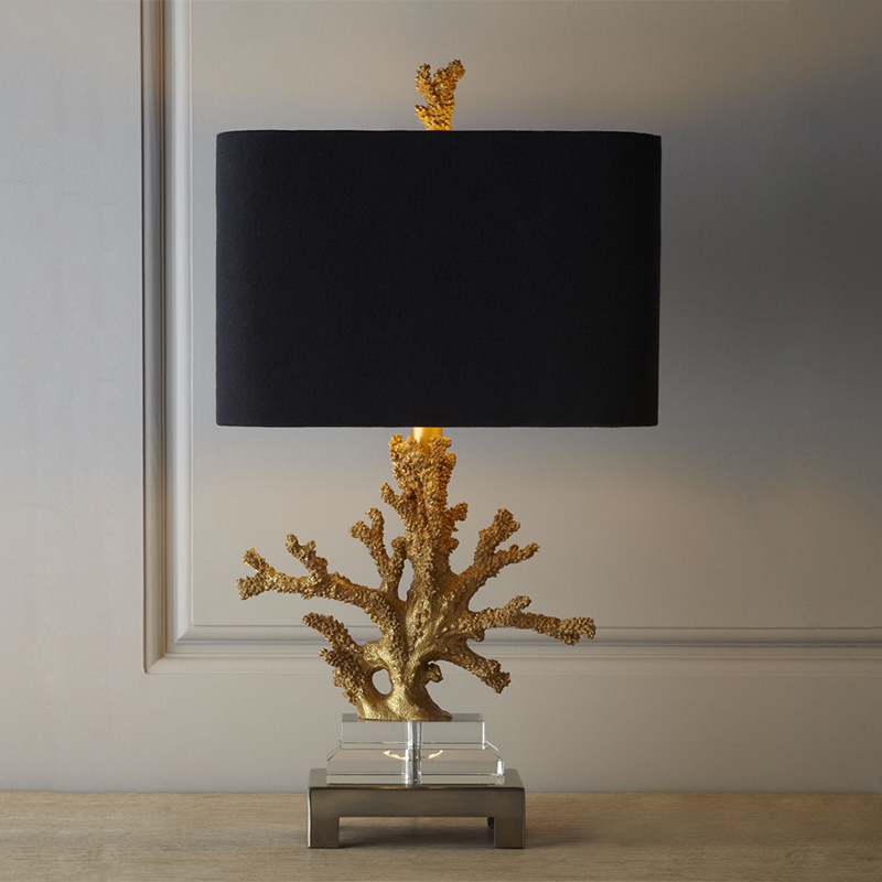 Modern Gold Coral Resin Table Lamps Fashion Bedroom Bedside Lamp E27 Holder Reading Crystal Base Desk Lights abajur para quarto