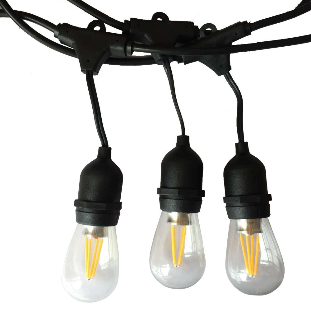 IP65 Outdoor LED String Light 10M Gauge Black Cable with 10 4W Edison Bulbs Perfect Decoration