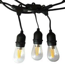 IP65 في الهواء الطلق LED ضوء سلسلة 10 متر قياس كابل أسود مع 10 4 واط اديسون المصابيح الديكور المثالي لحديقة الفناء حفلة عيد الميلاد