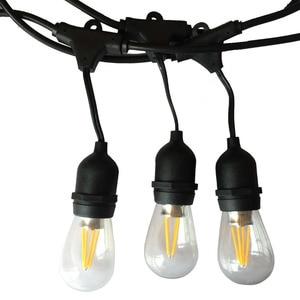 Image 1 - IP65 في الهواء الطلق LED ضوء سلسلة 10 متر قياس كابل أسود مع 10 4 واط اديسون المصابيح الديكور المثالي لحديقة الفناء حفلة عيد الميلاد