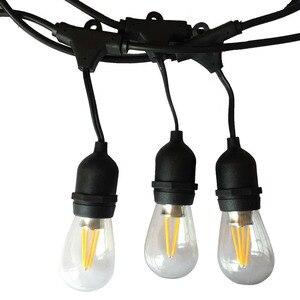 Image 1 - IP65 屋外 led ストリングライト 10 メートルゲージ黒のケーブル 10 4 ワットエジソン電球最適な装飾パティオガーデンパーティークリスマス