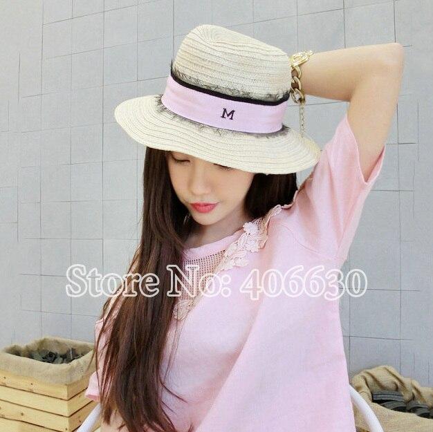 Новый модный летние широкими полями соломенной женщин-бич шляпы для женщин Sunbonnet шляпы женский бесплатная доставка SCCDS-008