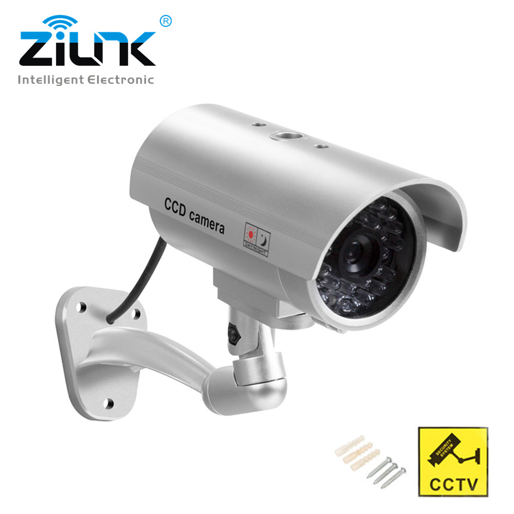 zilnk-waterproof-dummy-camera-bullet-flashing-red-led-outdoor-indoor-fake-cctv-security-simulation-camera-silver-free-shipping