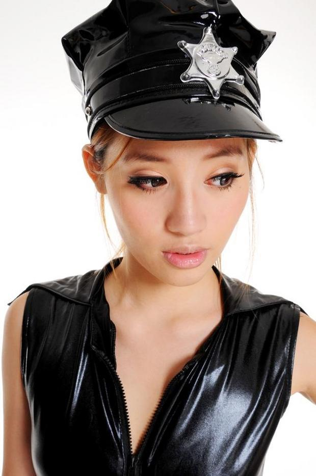 Buy Sexy Lingerie Leather Hat Policewoman Cosplay Costume Women Hot Babydoll