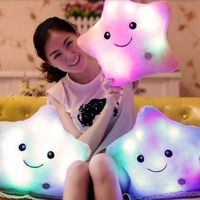 Free Shipping Colorful Star Glow LED Luminous Light Pillow Cotton Cushion Soft Relax Gift Smile Gift