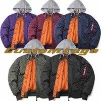 Custom Logo Winter Urban Streetwear Men Ma1 Bomber Jacket Hooded Pilot Coat Burgundy Red Olive Green Purple Black