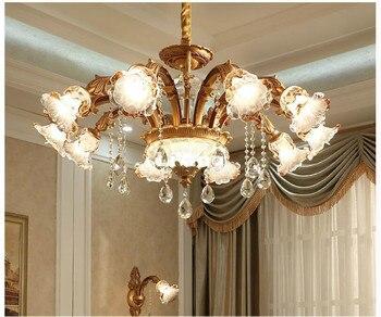 Современные европейские E14 кристалл лампы гостиной ресторан спальня лампа Роскошные цинковый сплав свеча люстра 100% подлинные часы