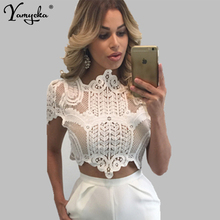 Sexy Black White Lace Summer crop top women Hollow shirts See Through Short cropped tank tops womens bustier Night club clothes embroidered see through tank top