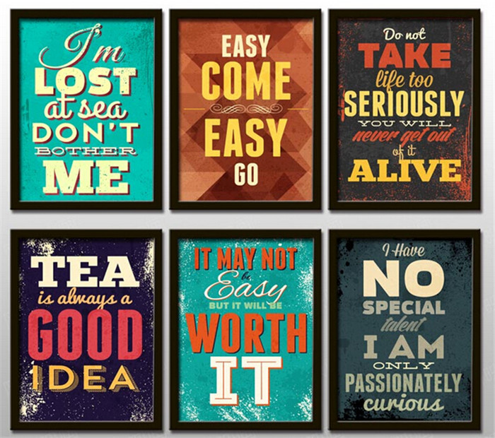 Creative Office Adornment Motivational Clroom English Hang Painting Wall Retro Letters Hd0281 In Calligraphy From Home