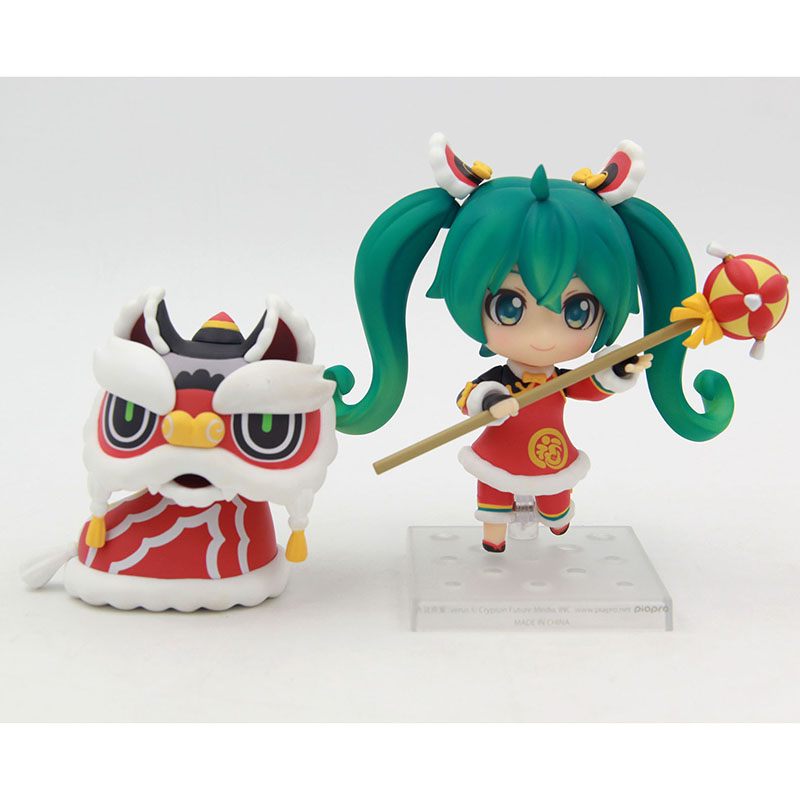 Hatsune Miku Lion Dance Ver. Nendoroid #654 PVC Action Figure Collectible Model Toy 10cm KT3521 new hot christmas gift 21inch 52cm bearbrick be rbrick fashion toy pvc action figure collectible model toy decoration