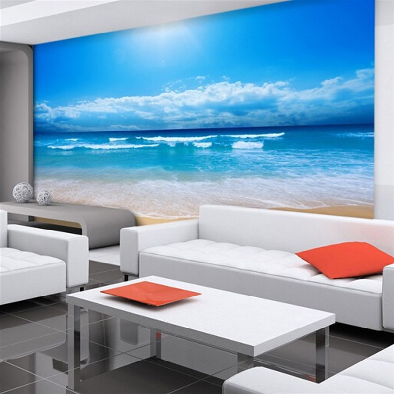 Beibehang 3d Photo Wallpaper 3d European Non Woven Wall Paper Bedroom Ocean  Sky Ocean Beach