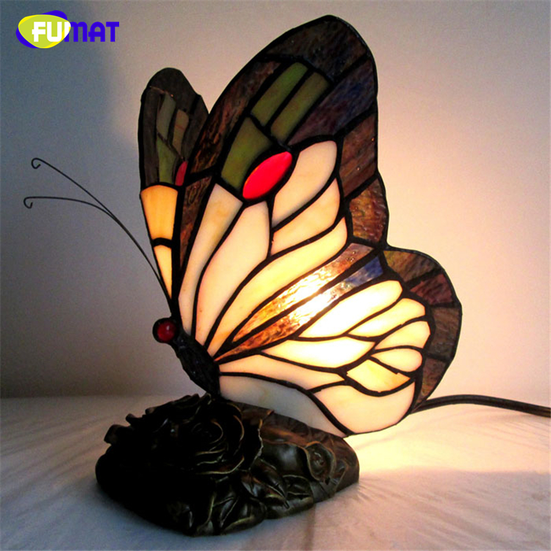 FUMAT Stained Glass Butterfly Table Lamps Art Creative Tiffanylamp For Living Room Bedside Lamp Decor Art Glass LED Table Light