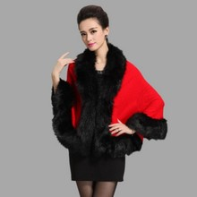 2017 new winter sweater cape coat bat sleeve fake fox fur collar temperament elegant ladies(China)