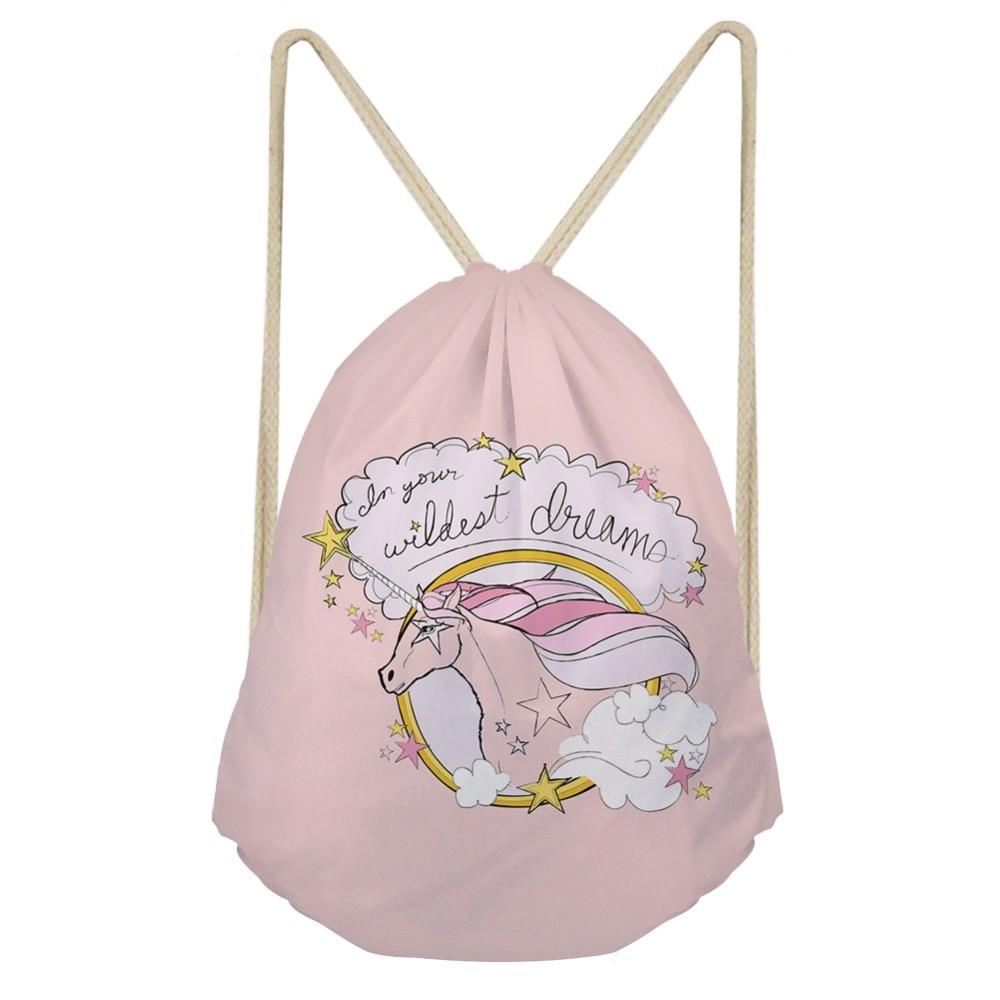 ThiKin Cute Unicorn Printed Drawstring Bags For Women Cartoons Animal Children Casual Backpacks Small Travel Bag Girls Boys