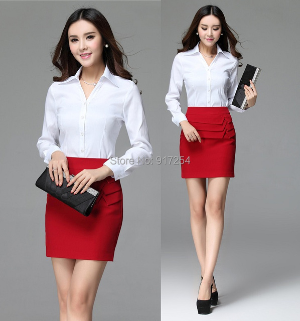 2015 New Femininos Office Work Suits Blouses And Skirt For Ladies Spring Autumn Uniforms Skirt Suits Beautician Clothing Set