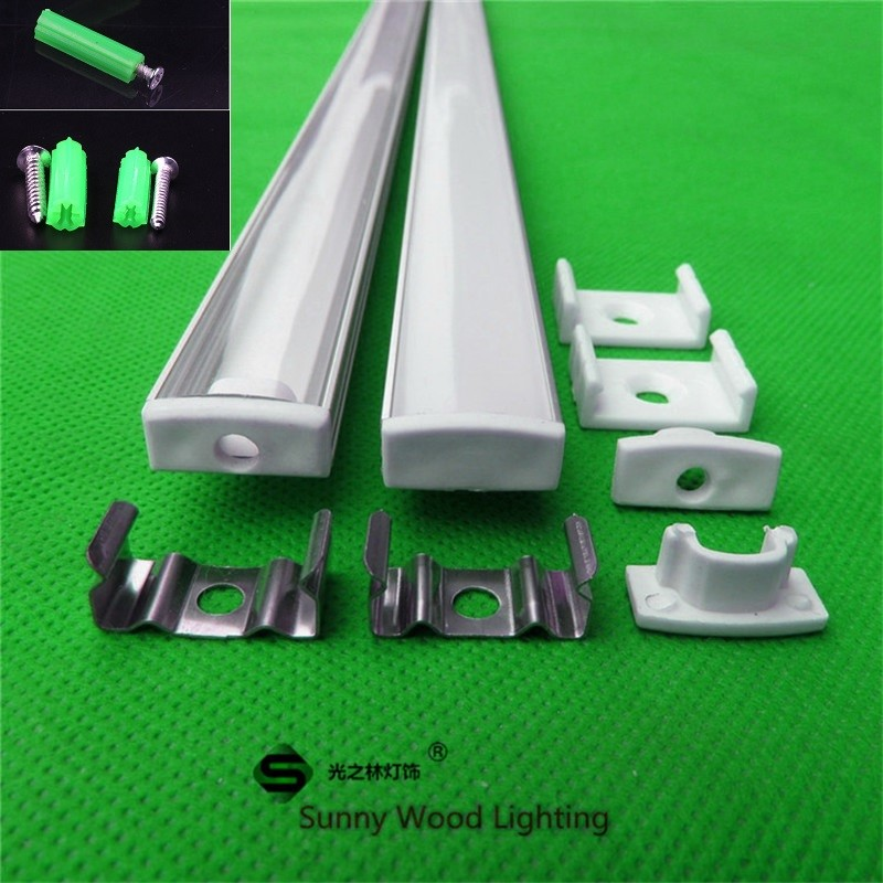 2-30pcs/lot 0.5m/pc led channel aluminum profile for 5050 5630 led strip,milky/transparent cover for 12mm pcb ,led housing