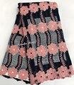 5 yardas africana de encaje de guipur de cordón limpio bordado de tela de encaje con un montón de fuerte piedras no caer