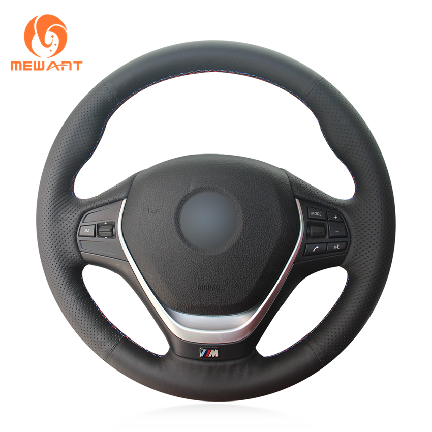 MEWANT Black Artificial Leather Car Steering Wheel Cover for BMW F20 2012-2018 F45 2014-2018 F30 F31 F34 2013-2017 F32 F33 F36 mewant black artificial leather car steering wheel cover for bmw f30 316i 320i 328i