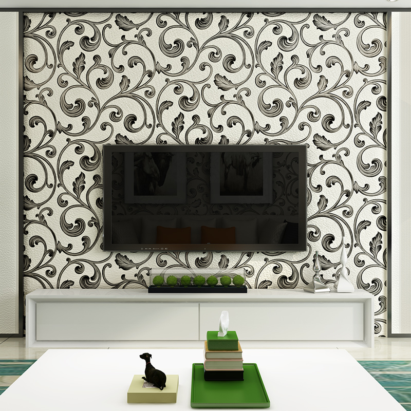 Купить с кэшбэком High Quality 3D Chinese Style AB Version Flocking Bedroom Living Room Sofa TV Setting Background Wall Paper