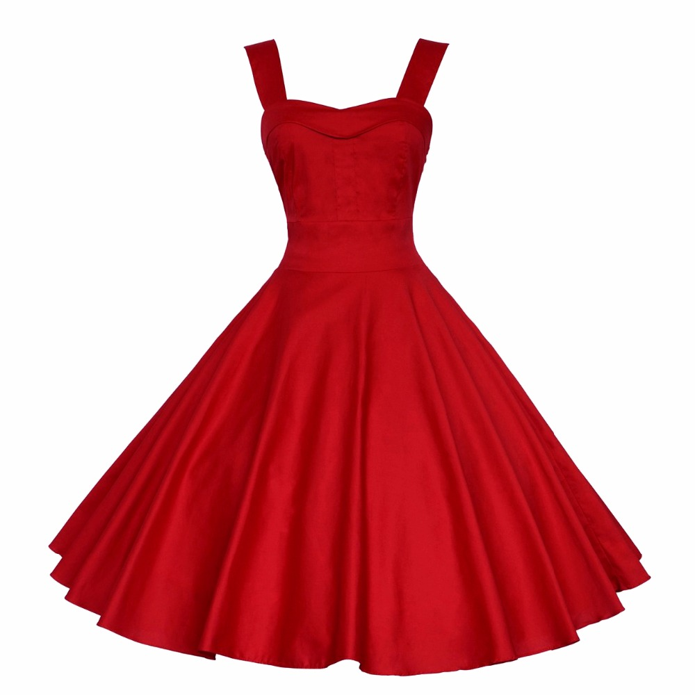 Sensfun Sexy Stras Red Women Dress Soild Color Cotton Hepburn Robe Vintage Dress Vestidos Retra A Line Party Dresses Sundress
