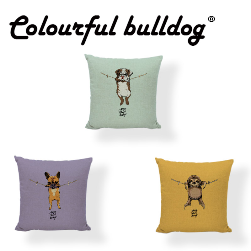 Lovely Dog Cushion Cover Bulldog Hang on Baby Puppy Pug Boxer Sloth 43*43cm Decorate Living Room Office Couch Spring Pillowcase