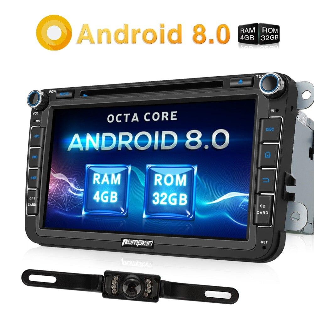 Citrouille 4G RAM 32G ROM 2 Din 8''Android 8.0 Voiture Lecteur DVD GPS Navigation Pour VW/Skoda /siège/Voiture De Golf Radio Wifi Bluetooth Stéréo
