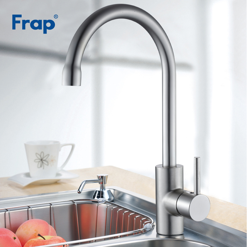 Image 3 - FRAP kitchen faucet Space Aluminum Hot and Cold Water mixer Tap 360 Degree Rotation Deck Mounted Crane YF40010/11/F4052/52 5-in Kitchen Faucets from Home Improvement